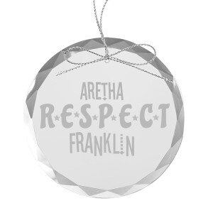 Stereo Respect Round Laser-Etched Glass Ornament