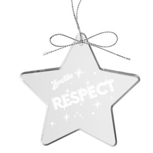 Respect Star Laser-Etched Glass Ornament