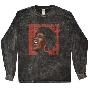 Aretha Respect Hoops Mineral-Wash Long Sleeve T-Shirt - Black