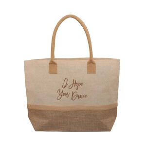 """Laminated Jute and Canvas """"I Hope You Dance"""" Tote"""