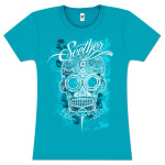 Seether Women's Aqua Pattern Skull Shirt - no back graphic)