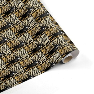Whitney Houston Black & Gold Microphone Wrapping Paper