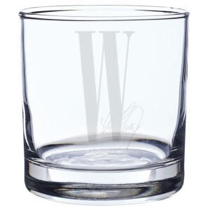 W Laser-Etched Rocks Glass