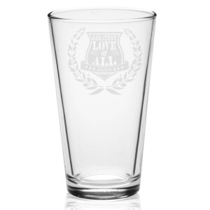 Greatest Love Crest Laser-Etched Pint Glass