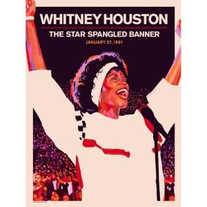 Whitney Houston Star Spangled Banner 30th Anniversary Poster