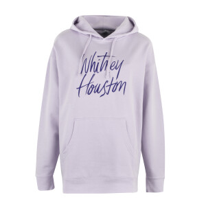Lavender Embroidered Script Hooded Pullover