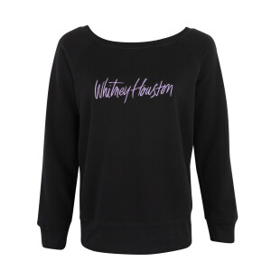 Wide Neck Black Fleece Embroidered Sweatshirt