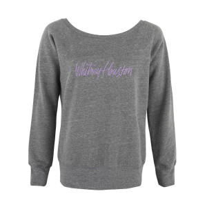 Wide Neck Grey Fleece Embroidered Sweatshirt