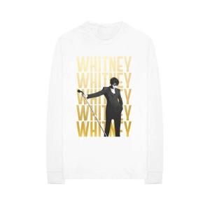 Whitney Houston Repeating Logo Longsleeve White T-Shirt