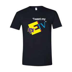 I WANT MY ETV 80'S INSPIRED BLACK T-SHIRT