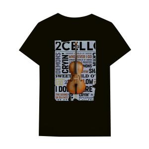2CELLOS Cello Newspaper Black T-Shirt