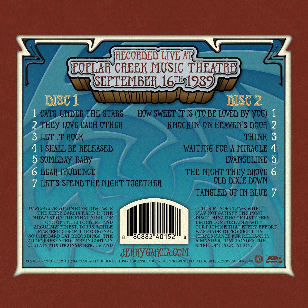 Jerry Garcia Band – GarciaLive Volume 13: 09/16/89 2-CD Set or Digital Download