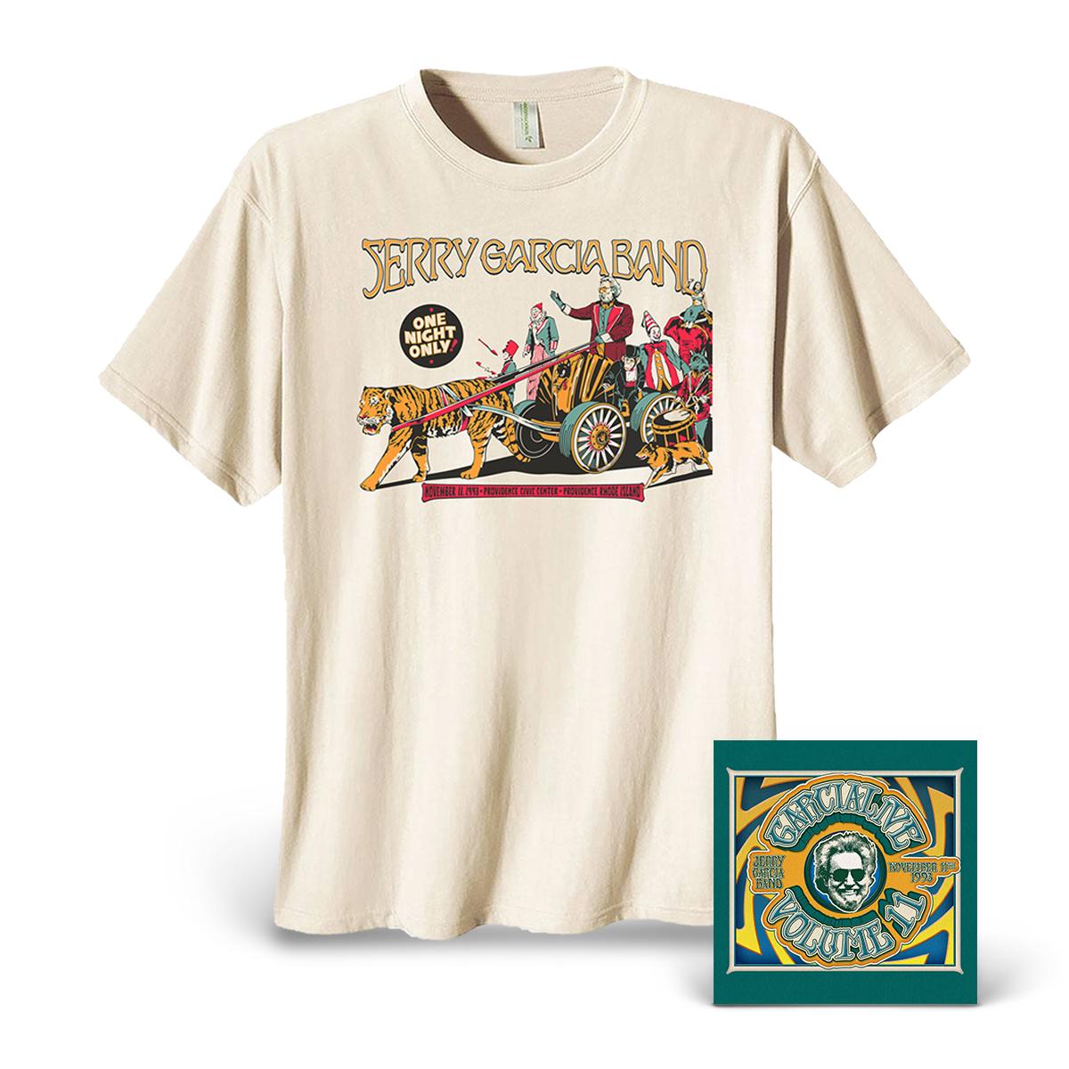 Jerry Garcia Band – GarciaLive Volume 11: 11/11/93 CDs or Download & Organic T-Shirt Bundle