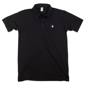 Jerry Garcia Handprint Organic Polo in Black