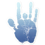 Jerry Garcia Ice Blue Hand Sticker