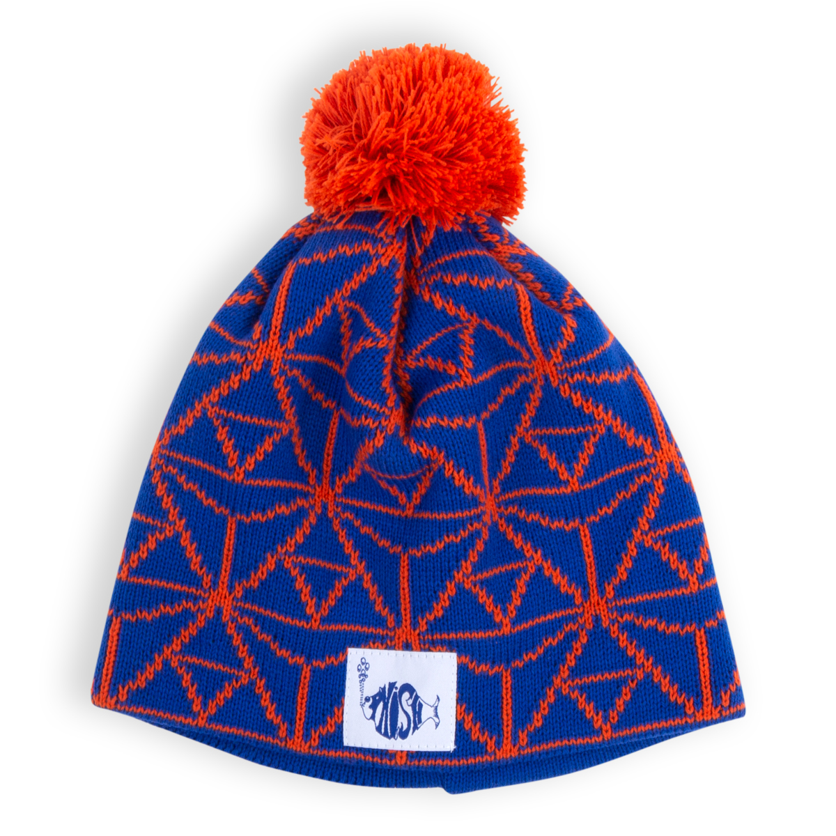 Orange and Blue Beanie, Scarf and Mitten Set