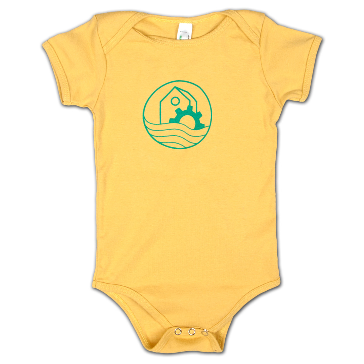 WaterWheel Baby Onesie on Dijon