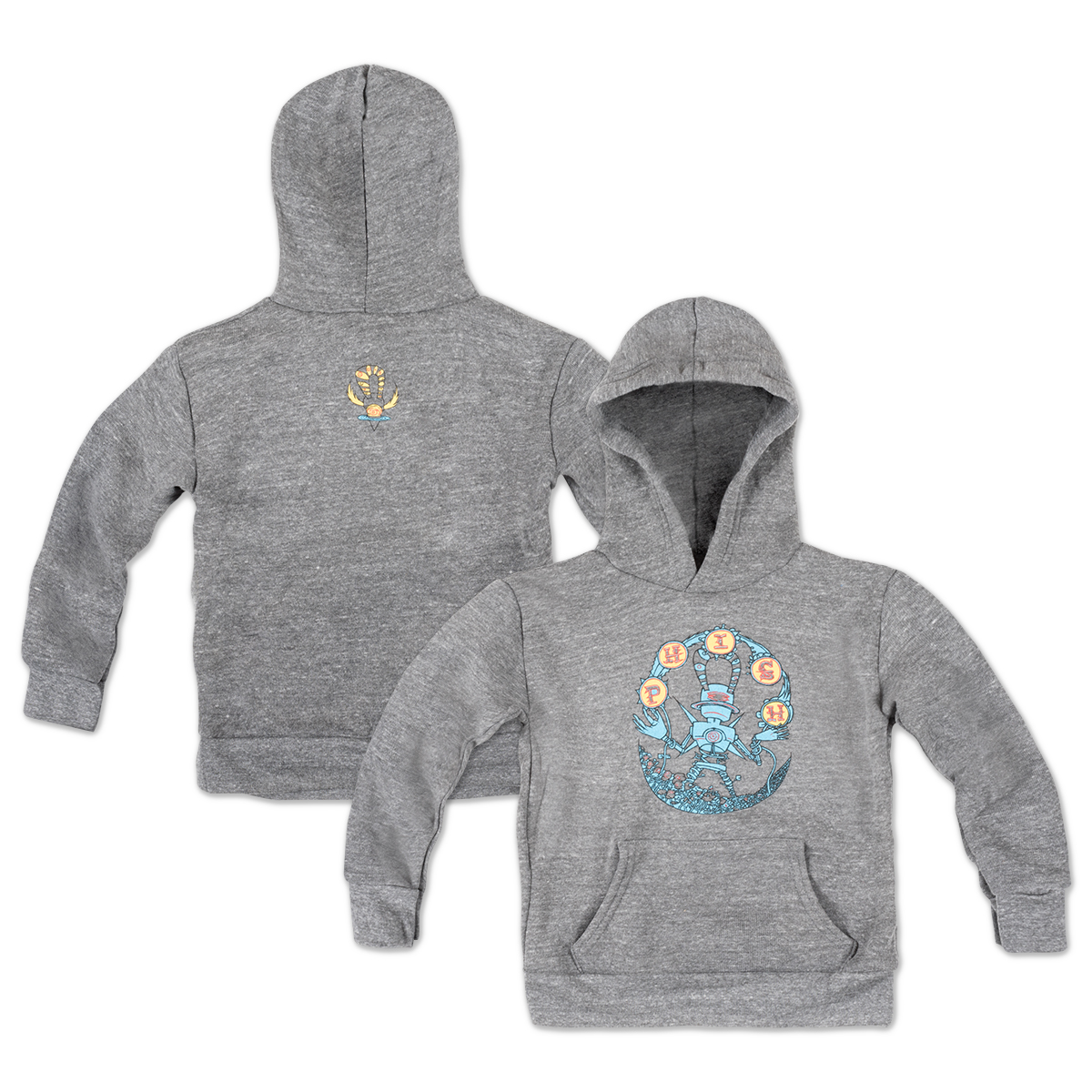 Robot Logo Kid's Hoodie on Vintage Grey