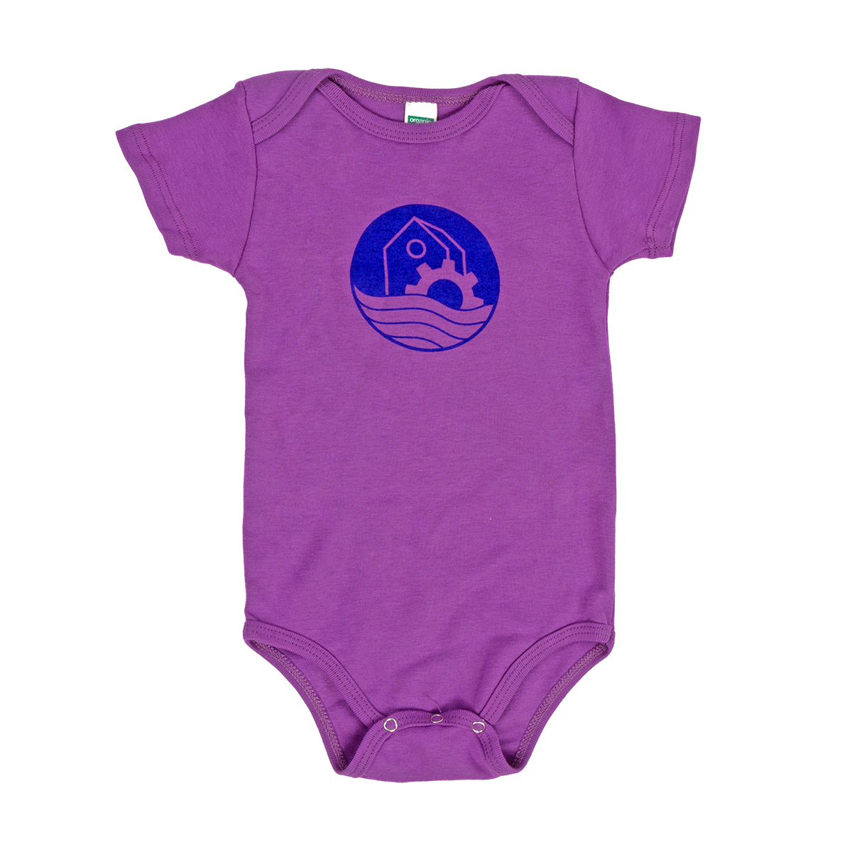 WaterWheel Baby Onesie on Eggplant