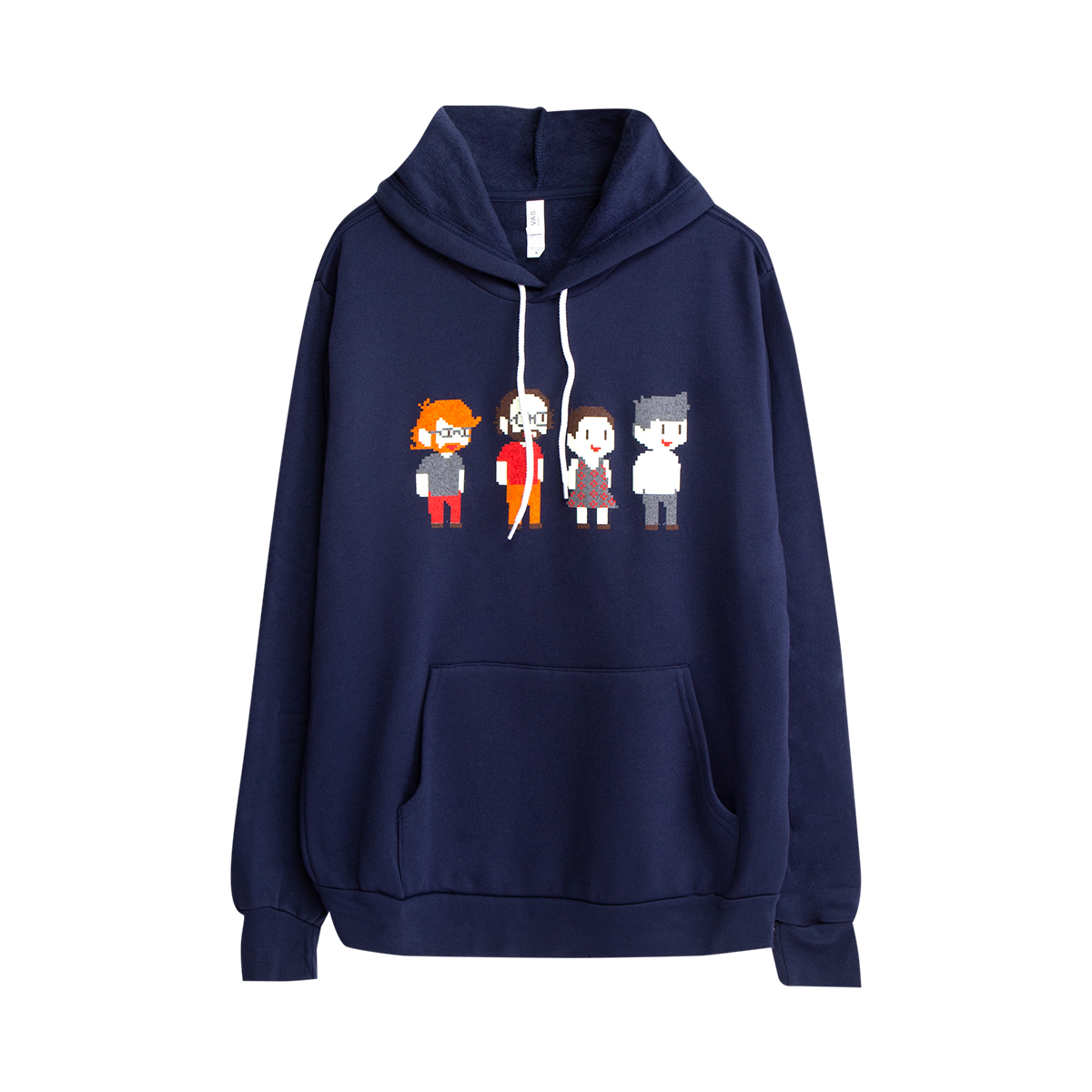 Pixel Band Pullover Hoodie on Navy
