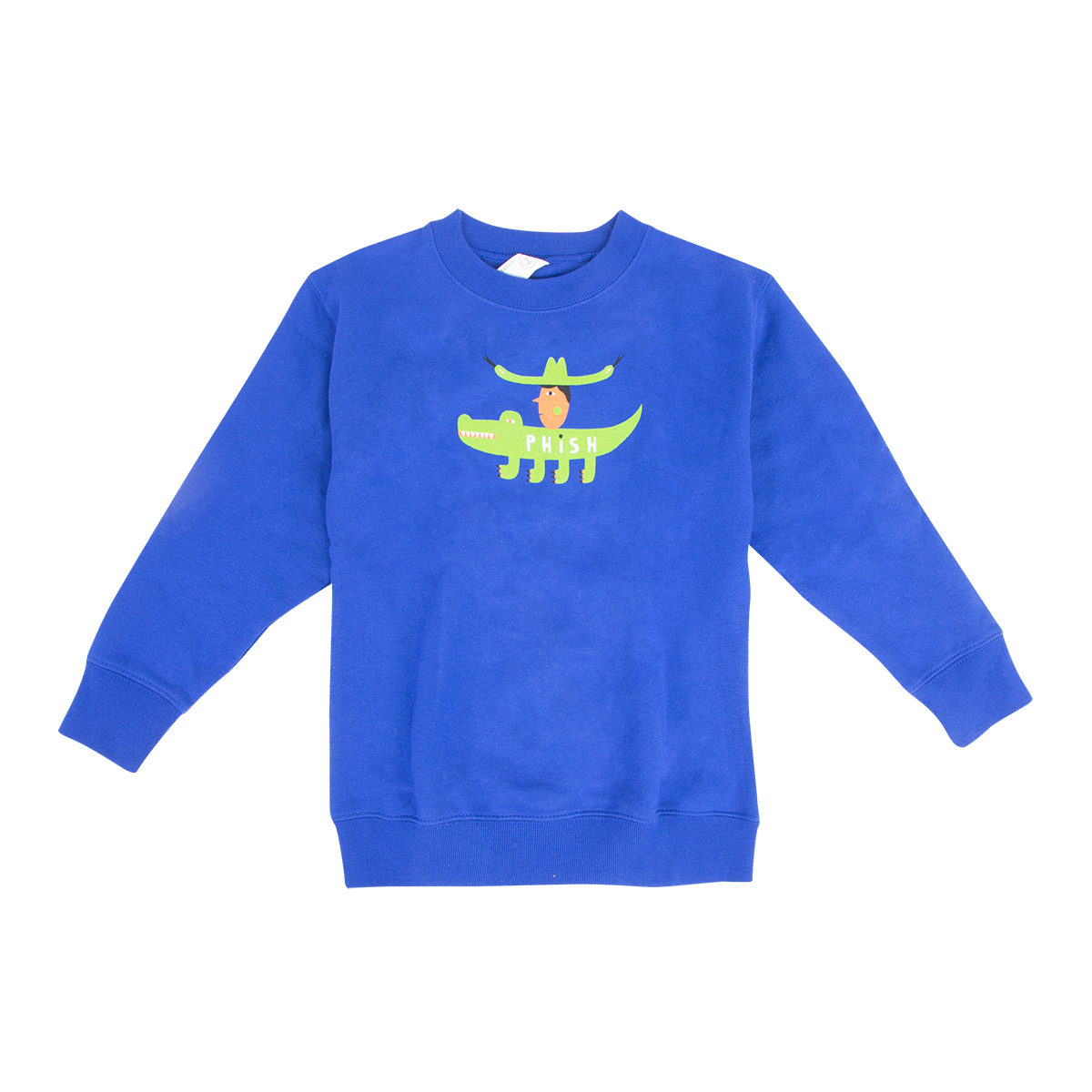 Kids Cowboy Gator Crew Sweatshirt on Royal Blue