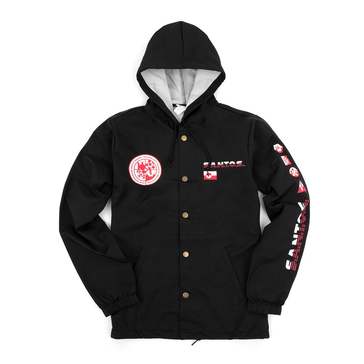 S.A.N.T.O.S. Hooded Crew Jacket on Black