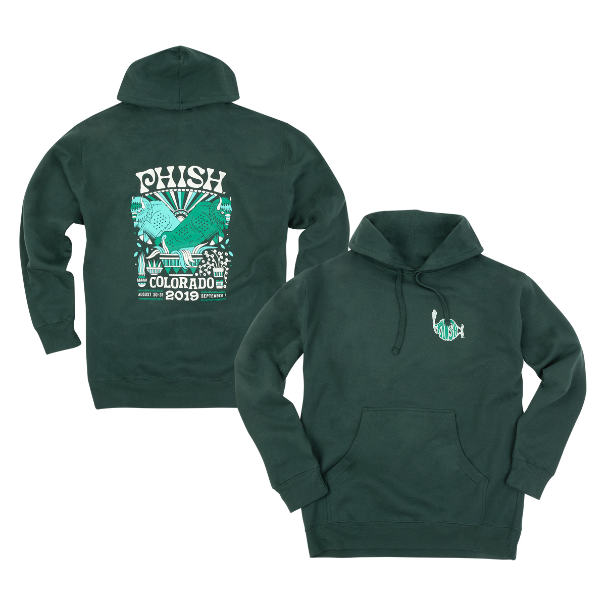 Commerce City 2019 Event Hoodie on Alpine Green