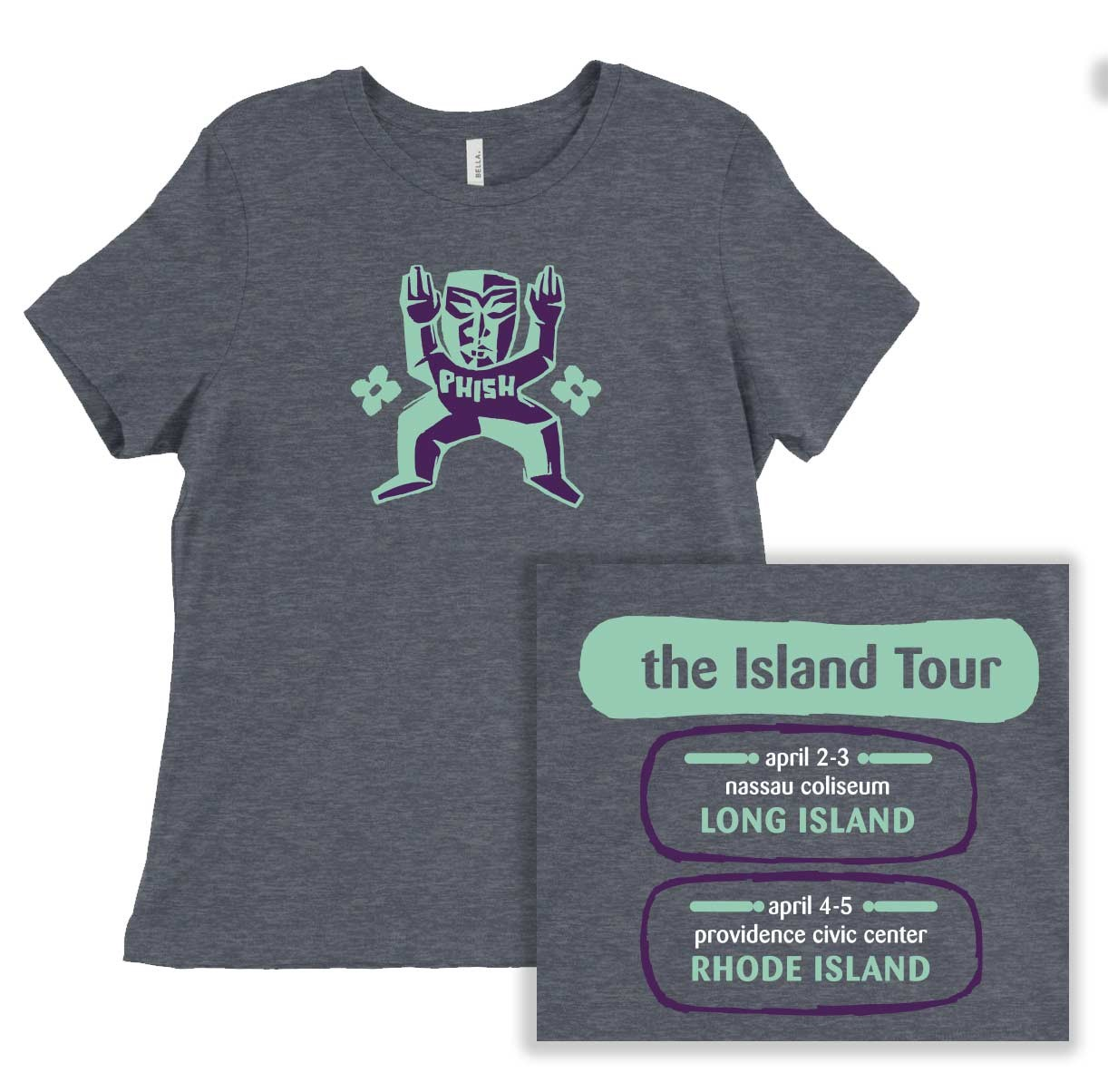Ladies Island Tour Redux Relaxed T on Heather Slate