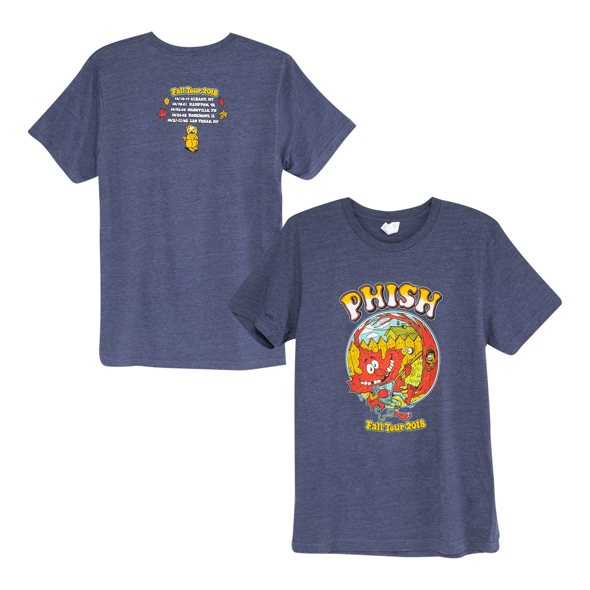 Fall Tour Breezy Leaf T On Heather Navy