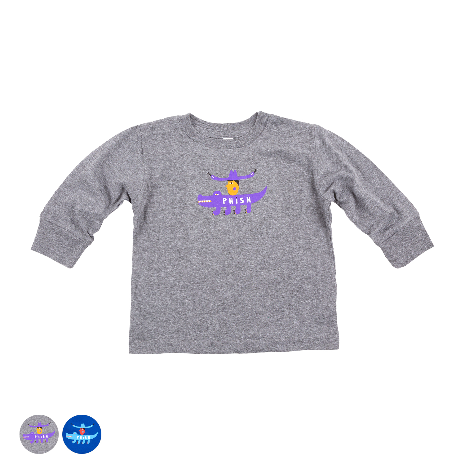Kids Cowboy Gator Long Sleeve Tee on White