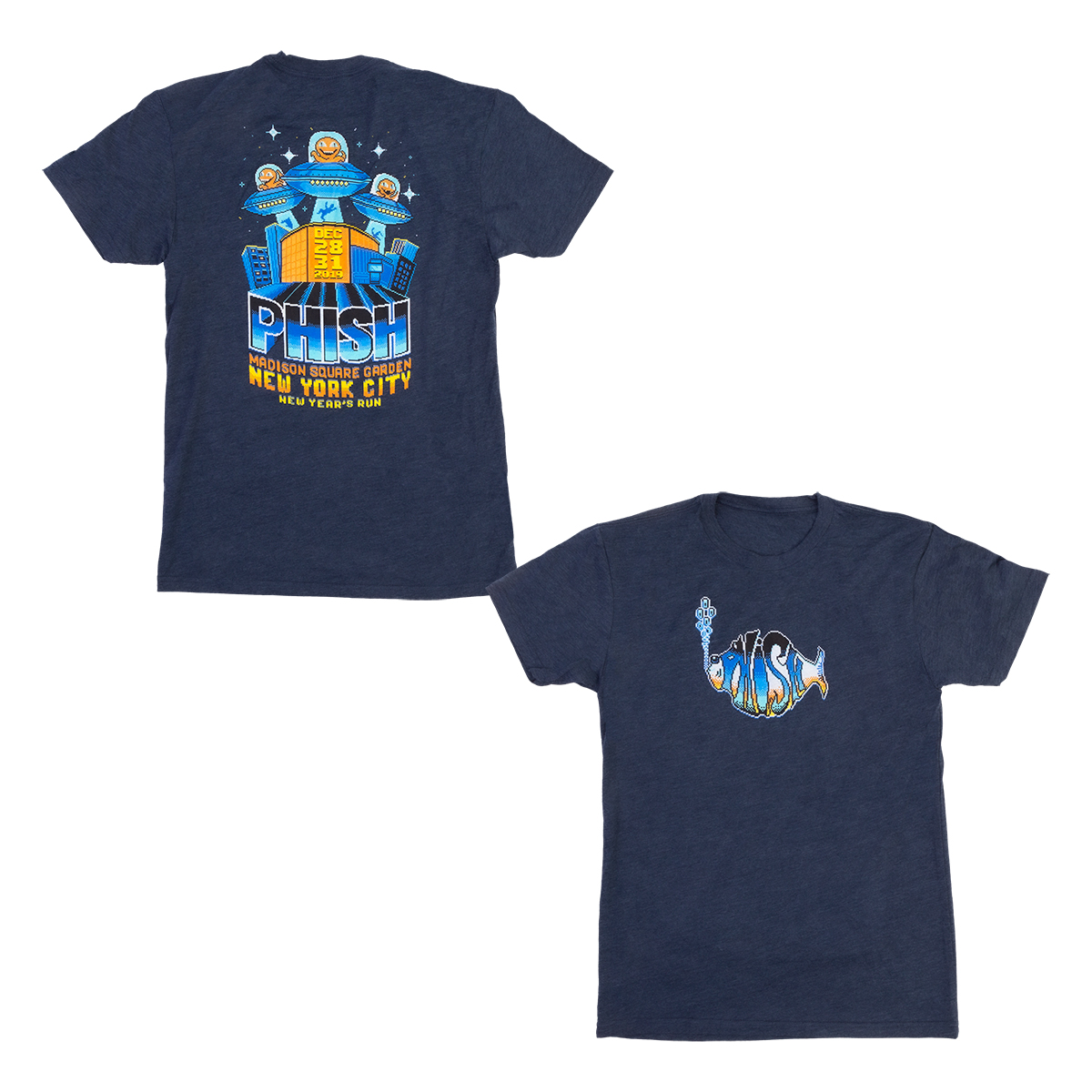 8-Bit Alien Invasion NYE 2019 Tee on Midnight Navy