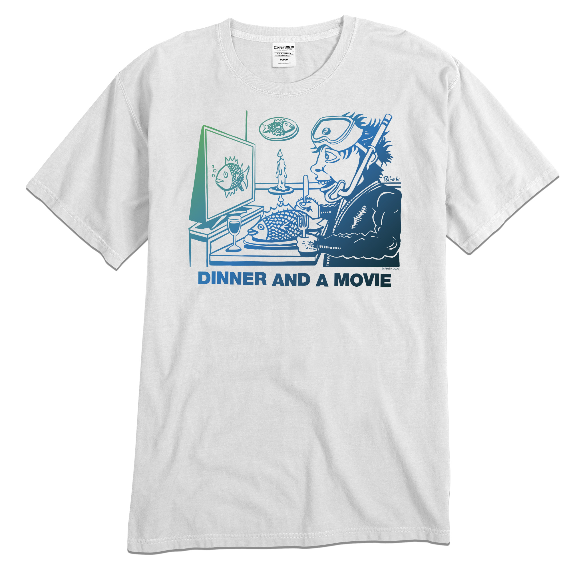 Dinner And A Movie Pollock Tee on White