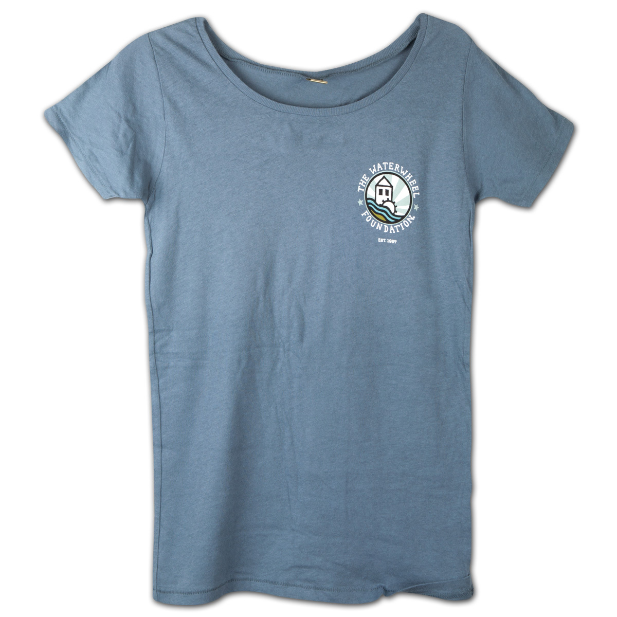 WaterWheel Women's Organic Cotton Scoop Neck T on Earth Ocean
