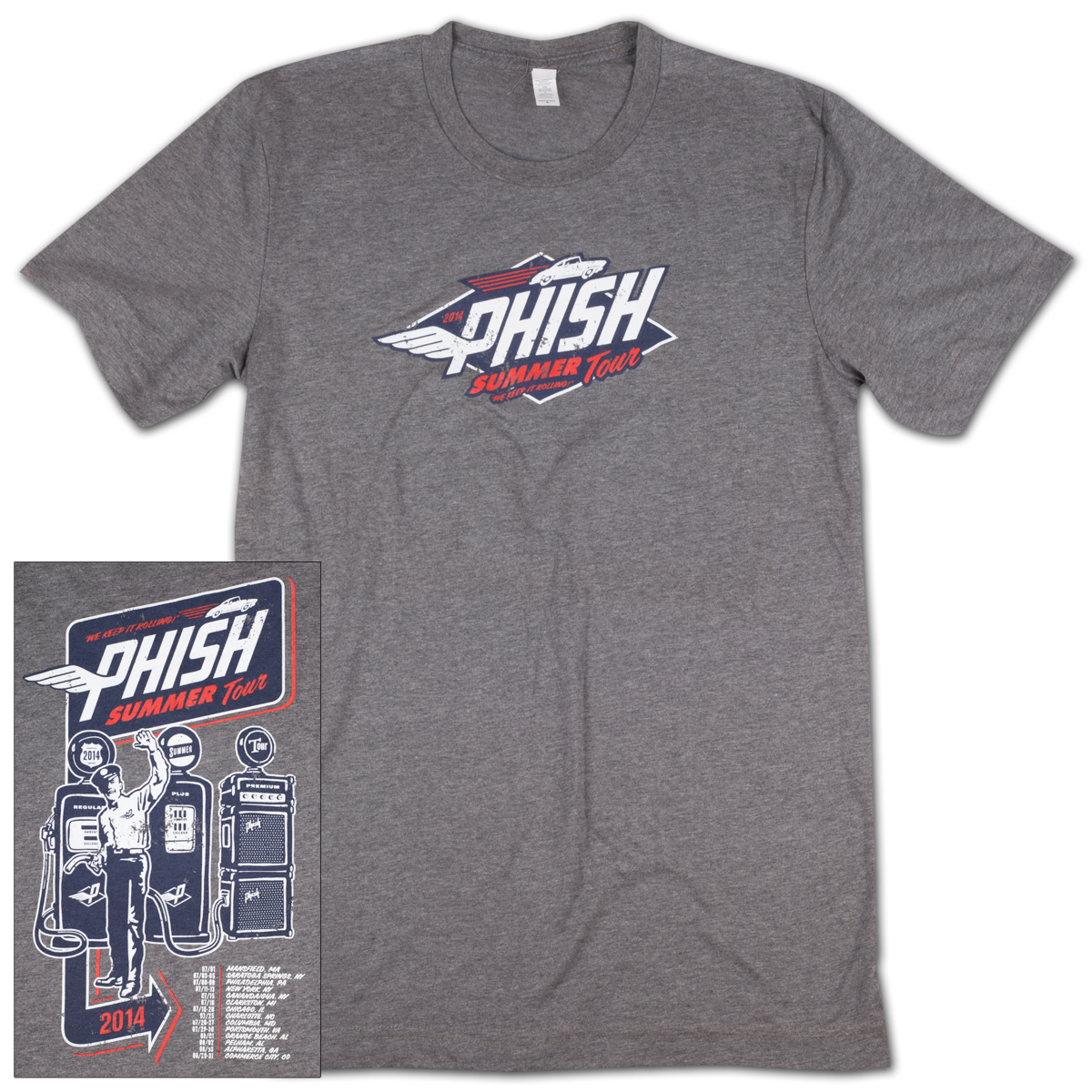 Gas Man Summer 2014 Tour T on Vintage Gray