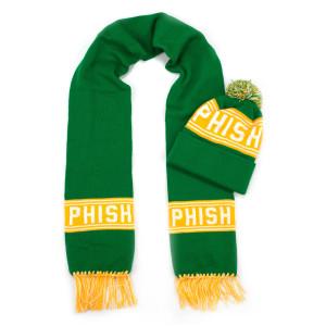 Hockey Knit Scarf & Pom Beanie (White/Yellow/Green)