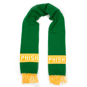 Hockey Knit Scarf (White/Yellow/Green)
