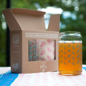 The Baker's Dozen Baking Towel & Donut Glass