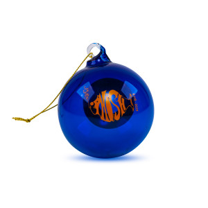NYE 2018 Run Donut Ornament in Orange/Blue