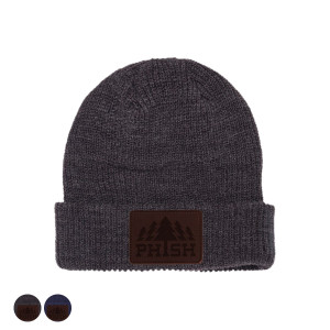 Timber Leather Patch Knit Beanie
