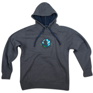 Waterwheel Foundation on Recycled Pullover Charcoal Hoodie