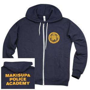 Makisupa Police Academy Zip-Up Fleece Hoodie