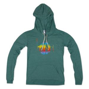 Women's Lightweight Classic Rainbow Logo Hoodie on Viridian Green
