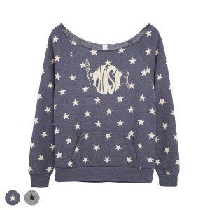 Women's Stars Wide Neck Sweatshirt