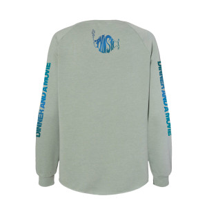 Women's Dinner And A Movie Pollock Crewneck Sweatshirt on Sage Green