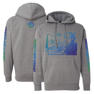 Dinner And A Movie Pollock Heavyweight Hoodie on Heather Grey
