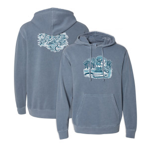 Pollock Ice Fisherman Pullover Hoodie on Slate Blue
