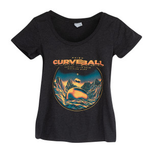 Women's Curveball Floating Orbs Scoop Tee on Tri-Blend Black