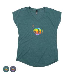 Women's Classic Rainbow Logo V-Neck Triblend Tee