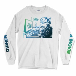 Dinner And A Movie Pollock Longsleeve Tee on White