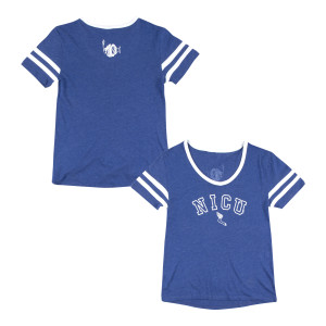 Women's NICU Vintage Varsity Tee on Royal Blue
